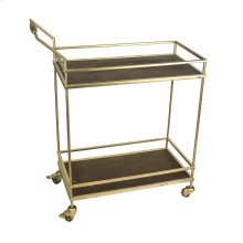 2-tier Metal/wood Bar Cart: Gold