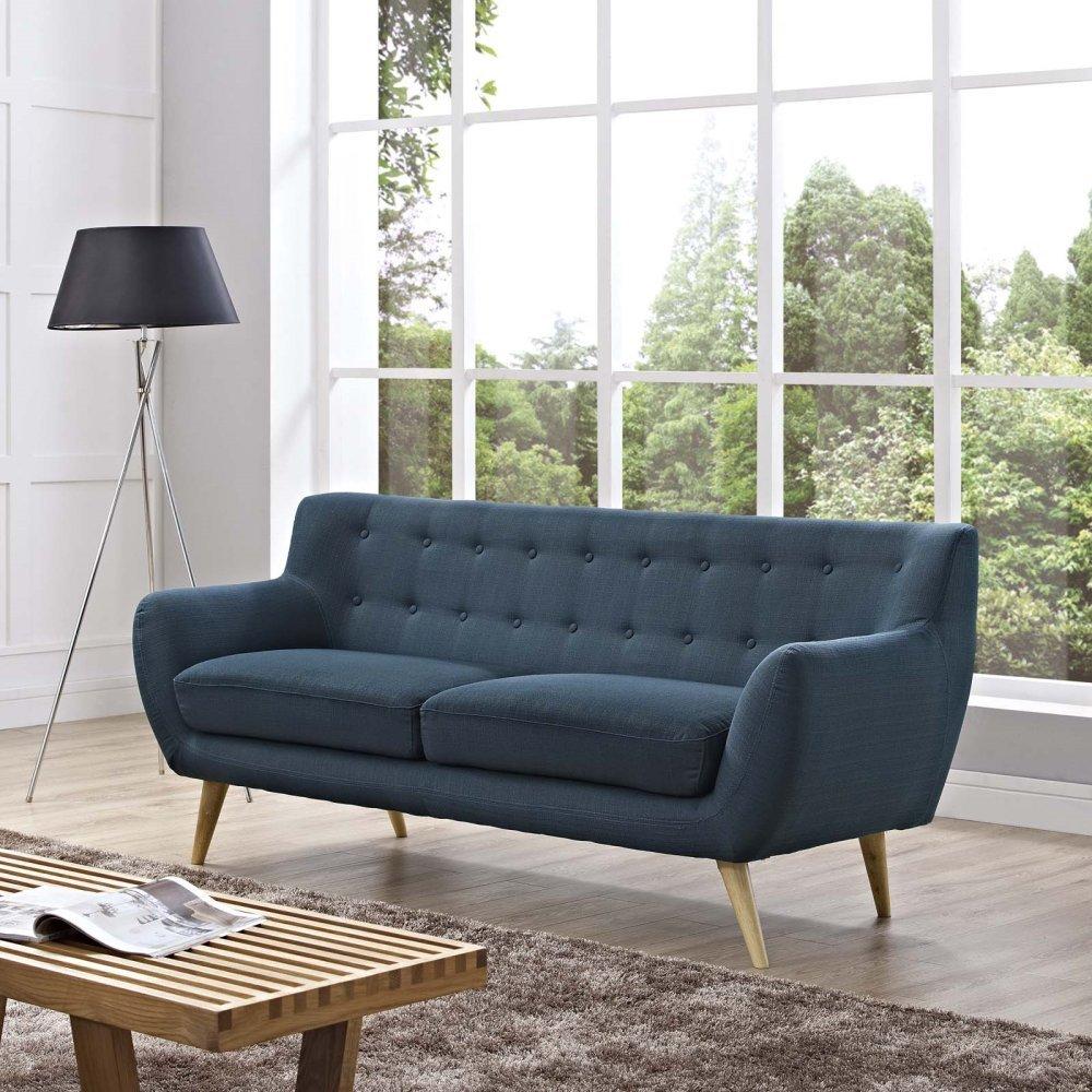 Remark Upholstered Fabric Sofa in Azure