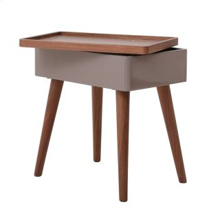 Nesta KD End Table w/ Swivel Opening and Storage, Walnut/Gray