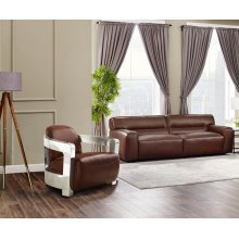SU-AX6816-SA  Leather 2 Piece Living Room Set  Sofa  Aviator Chair with Chrome Arms  Brown