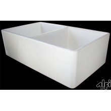 """Biscuit 32"""" Smooth Double Bowl Fireclay Farmhouse Kitchen Sink"""