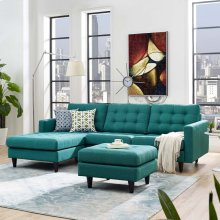 Empress Left-Facing Upholstered Fabric Sectional Sofa in Teal