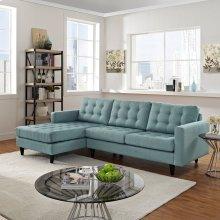 Empress Left-Facing Upholstered Fabric Sectional Sofa in Laguna
