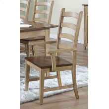 DLU-BR-C80A-PW-2  Ladder Back Dining Arm Chair  Set of 2