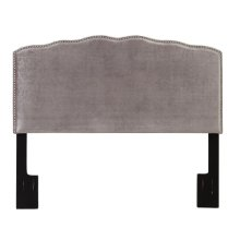 Nail Head Shaped Upholstered Headboard Velvet Shimmer King