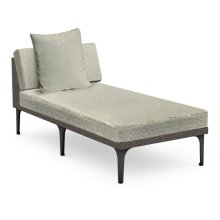 """32"""" Outdoor Dark Grey Rattan Sofa Lounger Sectional, Upholstered in Standard Outdoor Fabric"""