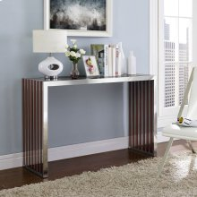 Gridiron Wood Inlay Console Table in Walnut