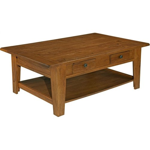 Attic Heirlooms Rectangular Cocktail Table,  Oak Top  Base Antique Black   2 tone