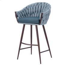 Fabian KD Fabric/ PU Bar Stool, Alpine Light Blue/ Fairfax Green