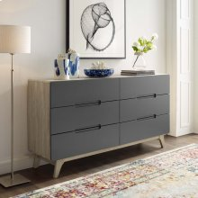 Origin Six-Drawer Wood Dresser or Display Stand in Natural Gray