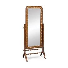 Satinwood & painted cheval mirror (Full length)