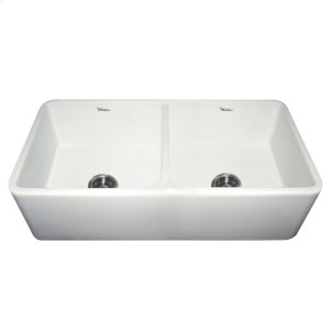 "Duet Series reversible double bowl fireclay sink with a smooth front apron and 3 1/2"" center drains. Product Image"