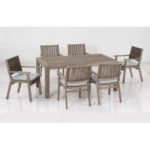 Bethany Eucalyptus FSC KD Dining Arm Chair w/ Sunbrella Cast Ash cushion