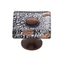Old World Bronze 35 mm Clear Flat Square Knob