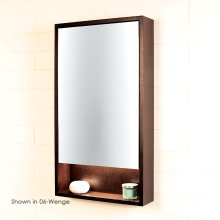 Surface-mount medicine cabinet with mirrored door, two adjustable glass shelves and LED lights in cubby.