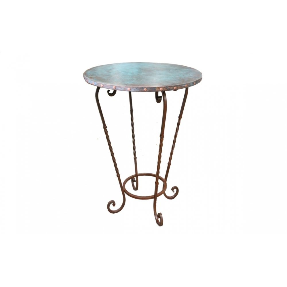 "Factory 4 36"" Turquoise Patina Copper Bistro Top with Claves & Wrought Iron Base"