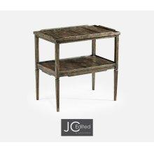 Rectangular Dark Driftwood Side Table with Rails & Undertier