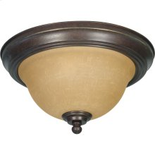 2-Light Small Flush Mount Ceiling Light in Sonoma Bronze with Champagne Glass