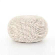 White Cover Jute Knit Pouf