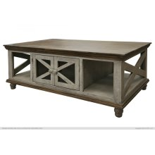 4 Door, Cocktail Table, Gray finish