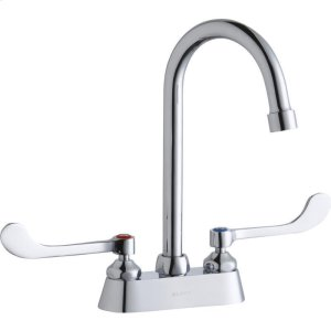 """Elkay 4"""" Centerset with Exposed Deck Faucet with 5"""" Gooseneck Spout 6"""" Wristblade Handles Chrome Product Image"""