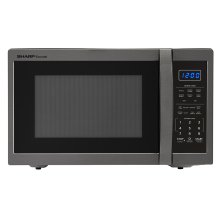 1.4 cu. ft. 1100W Sharp Black Stainless Steel Countertop Microwave