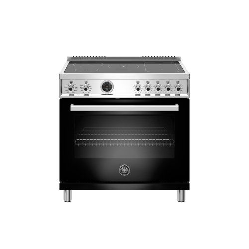 36 inch Induction Range, 5 Heating Zones, Electric Self-Clean Oven Nero