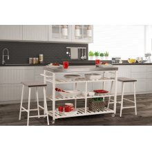 Kennon 3 Piece Kitchen Cart Set - Stainless Steel