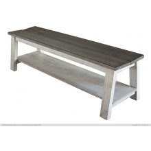Breakfast Bench w/shelf, Solid Wood - Gray & White Finish