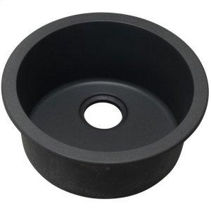 "Elkay Quartz Classic 18-1/8"" x 18-1/8"" x 7-1/2"", Single Bowl Dual Mount Bar Sink, Black Product Image"