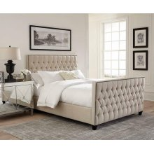 Saratoga Oatmeal Upholstered California King Bed