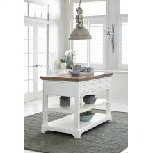 Island - Light Oak/Distressed White Finish