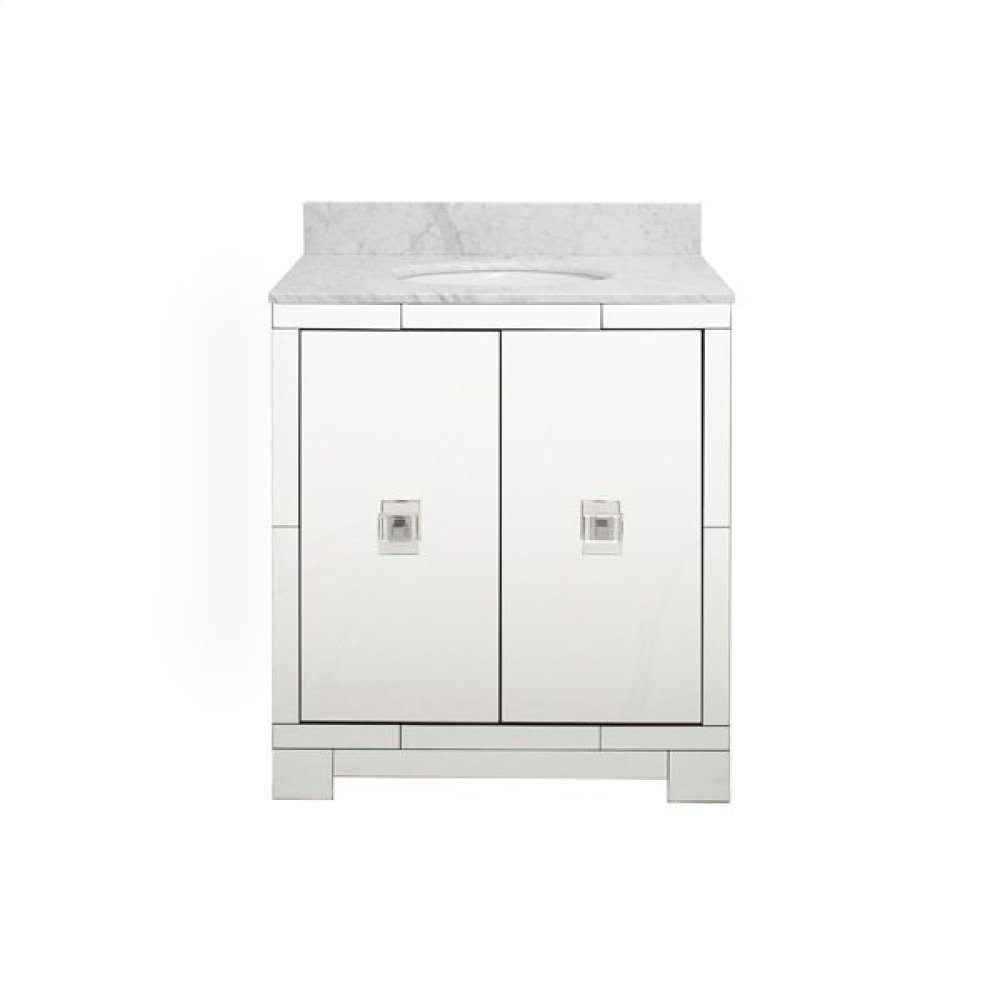 Mirrored Bath Vanity With Nickel and Acrylic Hardware and White Carrara Marble Top - White Marble Top With White Porcelain Sink