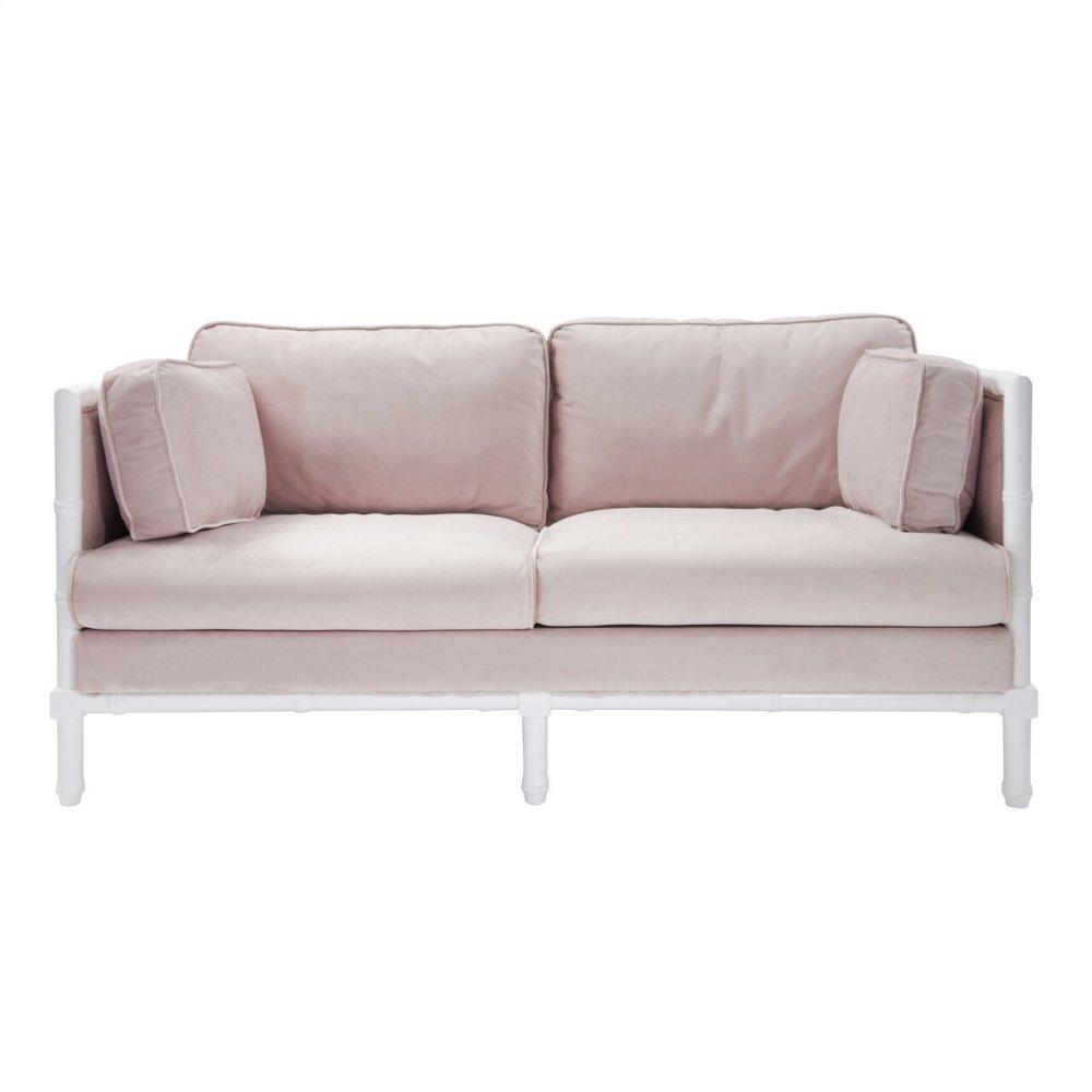 Bamboo Edge White Lacquer Sofa In Blush Velvet