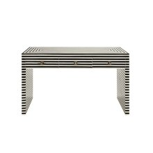 Black & Off White Resin 3 Drawer Console Table W. Brass Hardware