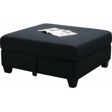 Keaton Transitional Midnight Blue and Black Ottoman