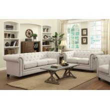 Roy Traditional White Two-piece Living Room Set