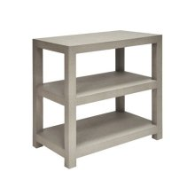 Two Tier Rectangular Grasscloth Side Table In Grey