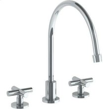 Deck Mounted 3 Hole Extended Gooseneck Kitchen Faucet