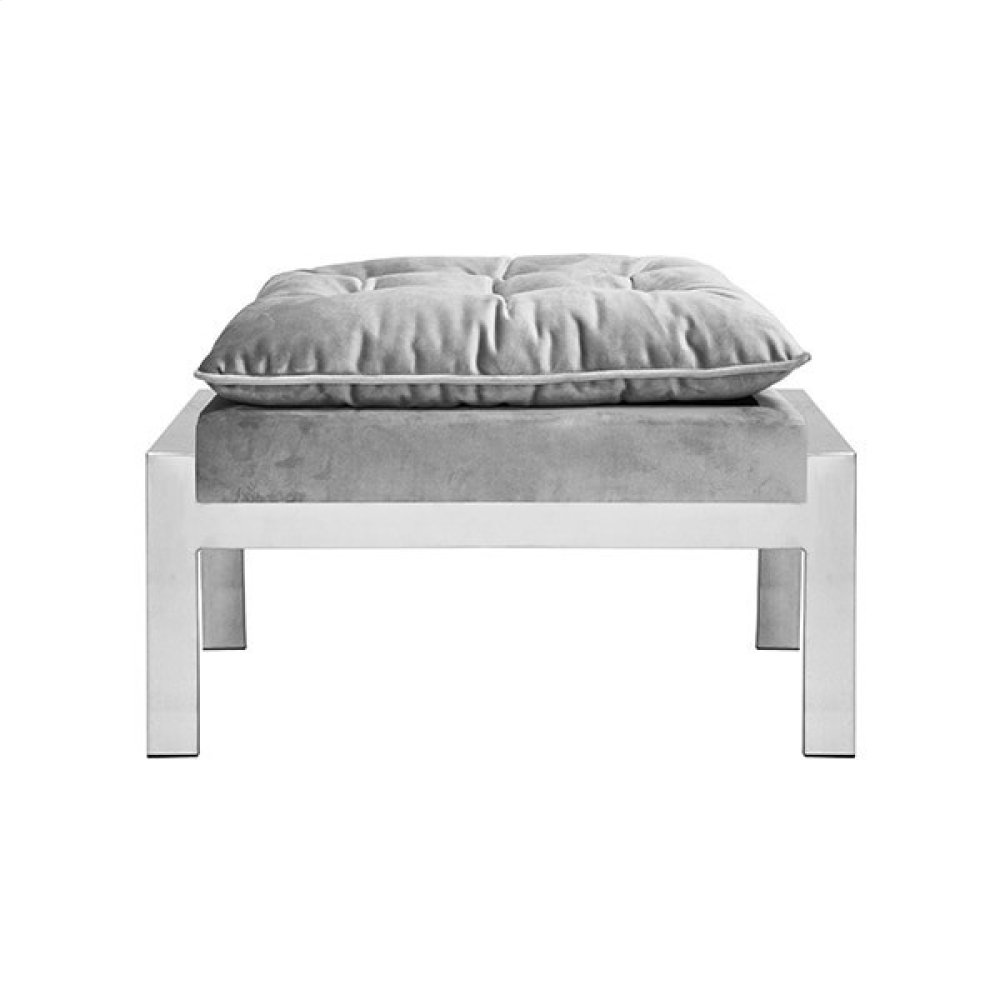 Nickel and Grey Velvet Ottoman To Pair With the Cameron Ngry Chair