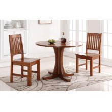 """3PC SET (42"""" Round Table with 2 Cottage Rake Back Side Chairs)"""