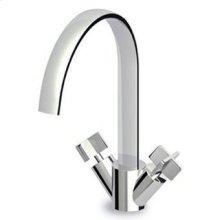 Single hole basin mixer, fixed spout with antisplash, flexible tails.