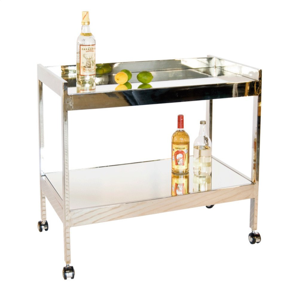 Nickel Plated Bar Cart With Mirrored Shelf.
