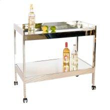 Nickel Plated Bar Cart With Mirrored Shelf.