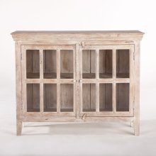 "Coral Gables 52"" Glass Cabinet Whitewash"