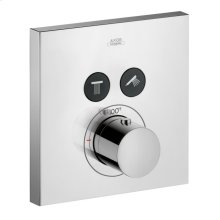 Chrome Thermostat for concealed installation square for 2 functions