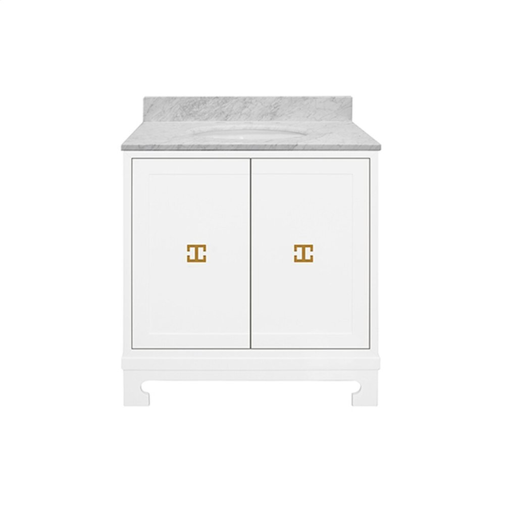 """Two Door White Lacquer Bath Vanity With Gold Leaf Hardware and White Carrara Marble Top Features: - White Porcelain Sink Included - Optional White Carrara Marble Backsplash Included - for Use With 8"""" Widespread Faucet (not Included) -one Adjustable/removable Interior Shelf"""