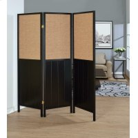 Traditional Black Three-panel Folding Screen Product Image