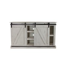 Barn Door White Plasma TV Stand