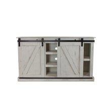 Barn Door White Plasma TV Stand